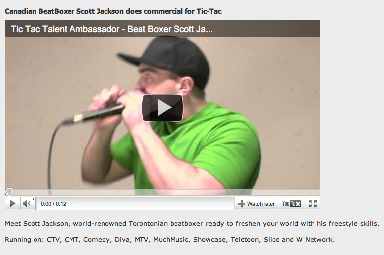 Beat Box Scott Jackson Tic Tac Commercial
