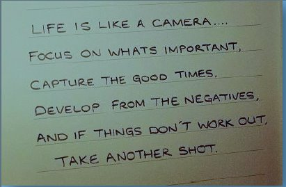 Life quote a metiphor for Camea film processing