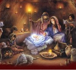 Jesus in a manger Christmas